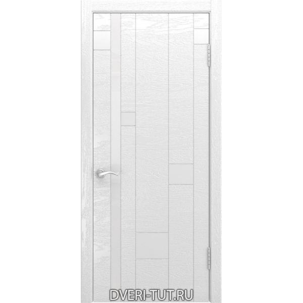 Дверь Арт-1 ДО шпон ясень белая эмаль (со стеклом)