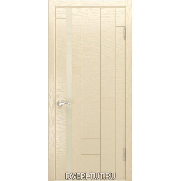 Дверь Арт-1 ДО шпон ясень слоновая кость (со стеклом)
