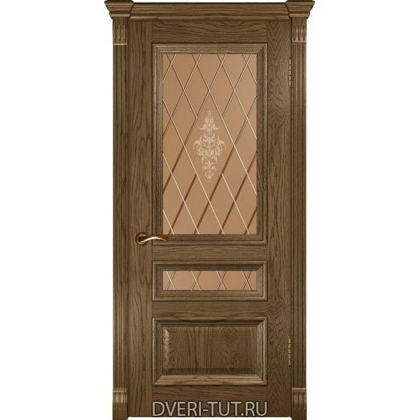 Дверь Фараон-2 ДО шпон светлый мореный дуб (со стеклом)