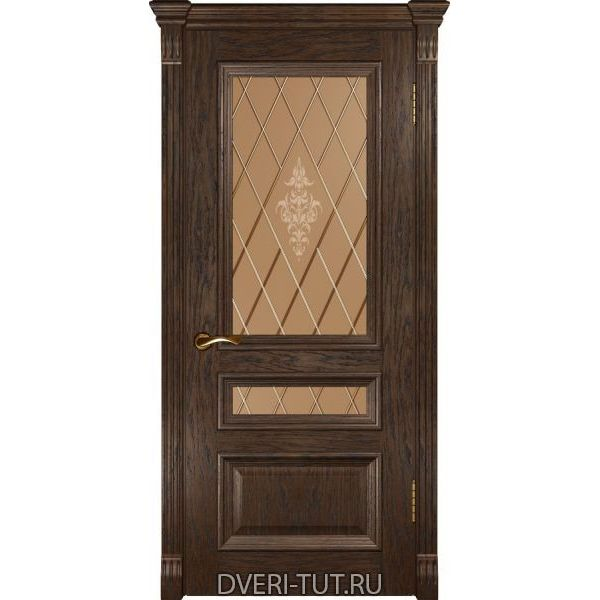 Дверь Фараон-2 ДО шпон мореный дуб (со стеклом)