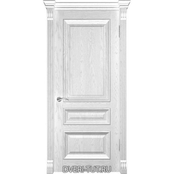Дверь Фараон-2 ДГ шпон дуба белая эмаль (глухая)