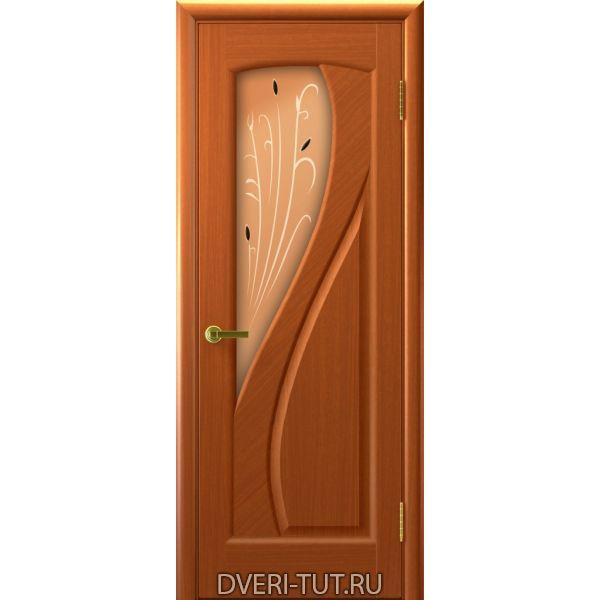 Дверь Мария ДО шпон темный анегри тон 74 (со стеклом)