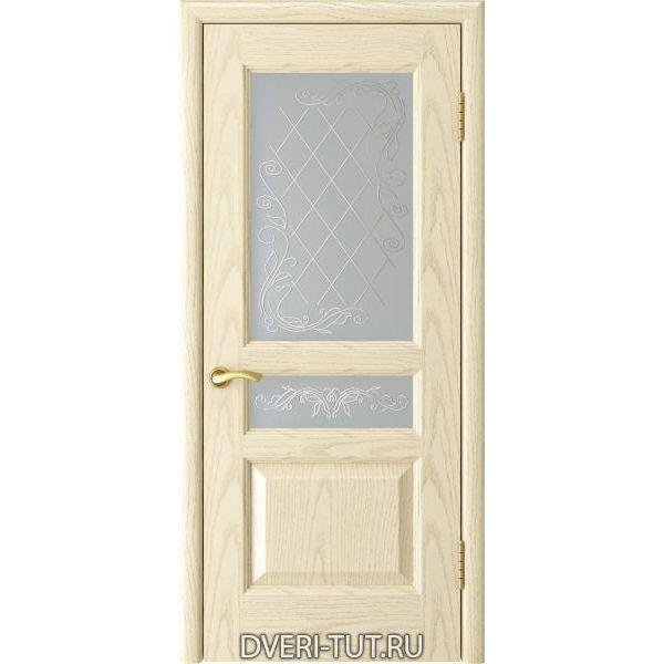Дверь Атлант-2 ДО шпон ясень слоновая кость (со стеклом)