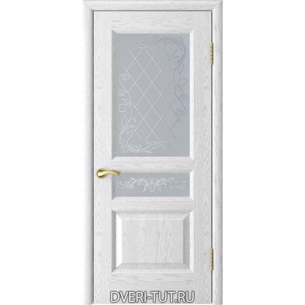 Дверь Атлант-2 ДО шпон ясень белая эмаль (со стеклом)