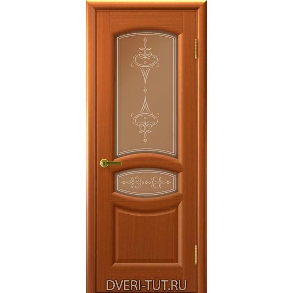 Дверь Анастасия ДО шпон темный анегри тон 74 (со стеклом)