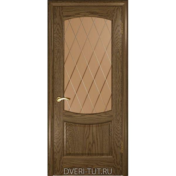 Дверь Лаура 2 ДО шпон светлый мореный дуб (со стеклом)
