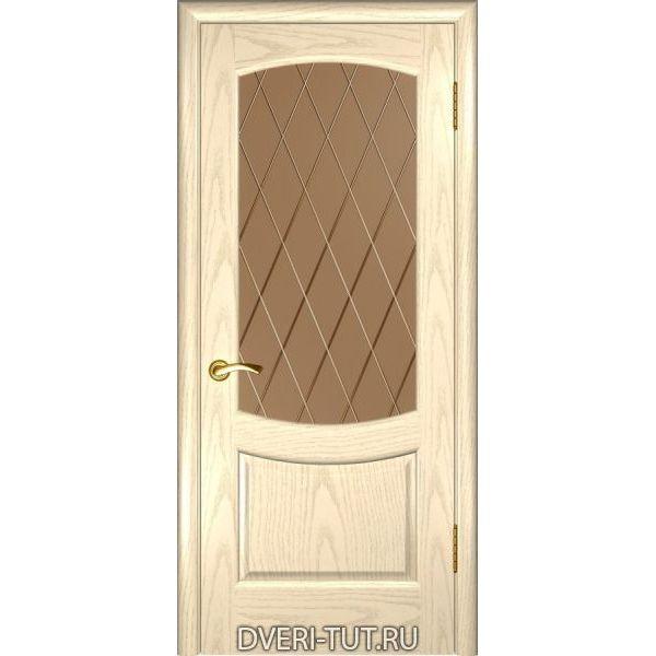 Дверь Лаура 2 ДО шпон ясень слоновая кость (со стеклом)