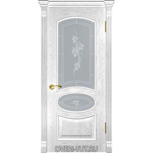 Дверь Грация ДО шпон дуб белая эмаль (со стеклом)