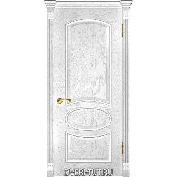 Дверь Грация ДГ шпон дуб белая эмаль (глухая)